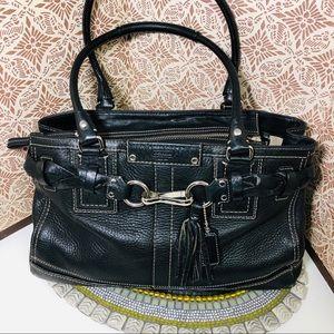 Women Coach Hampton black satchel pebble leather